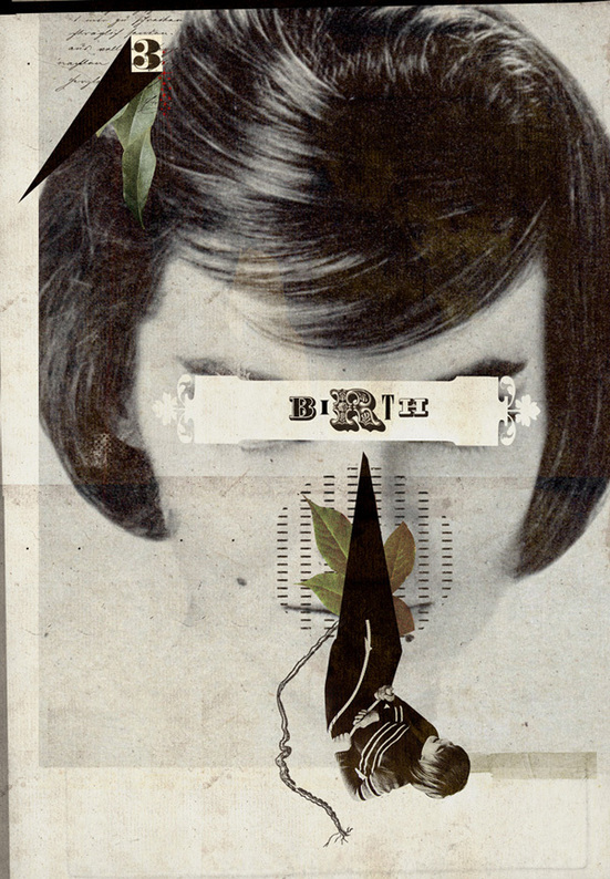 The mouse & the woman: Surreal Collage Illustrations
