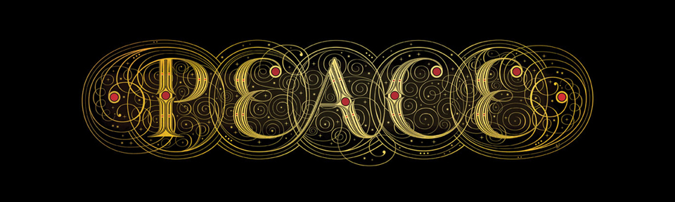 "Typographic design of ""Peace"" in a mystical beauty!"