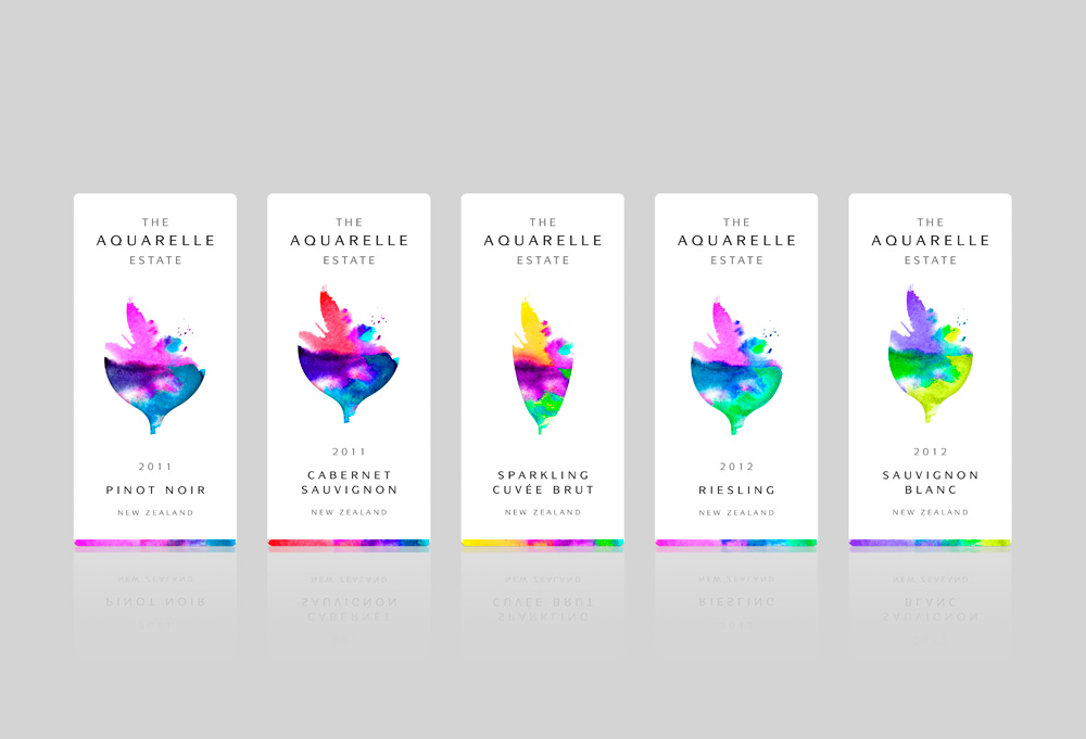 "Brand Creation and Packaging Design for New Zealand Wine Range ""The Aquarelle Estate"""