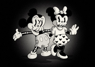 Mickey Mouse and other Cartoon forms in a… spooky way