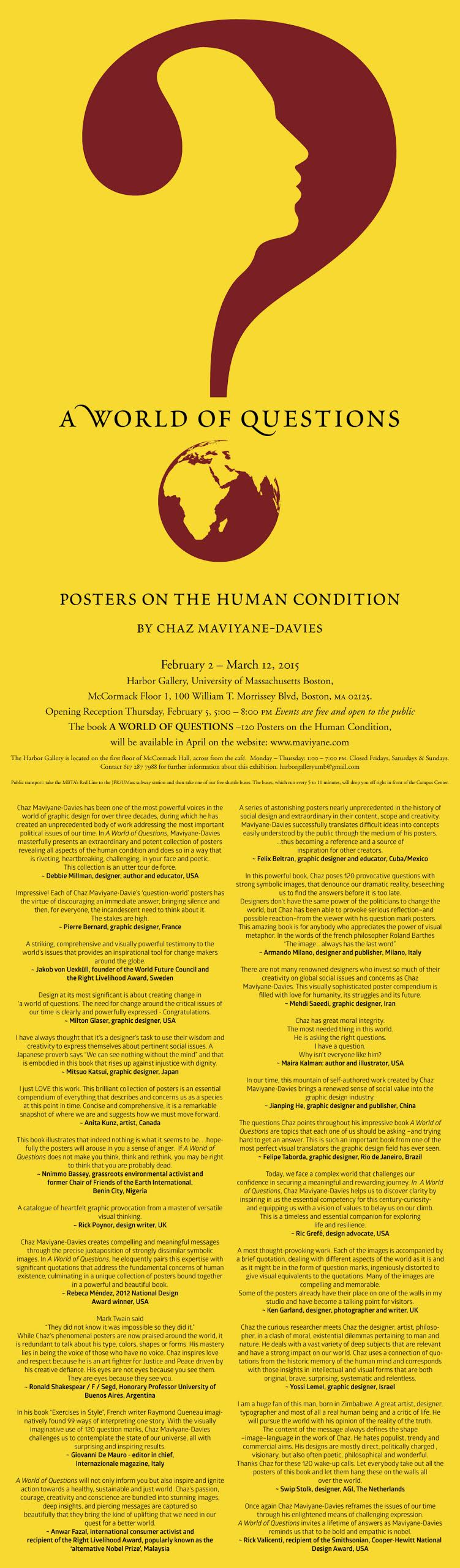 Chaz Maviyane-Davies Exhibition: A World of Questions -posters on the human condition
