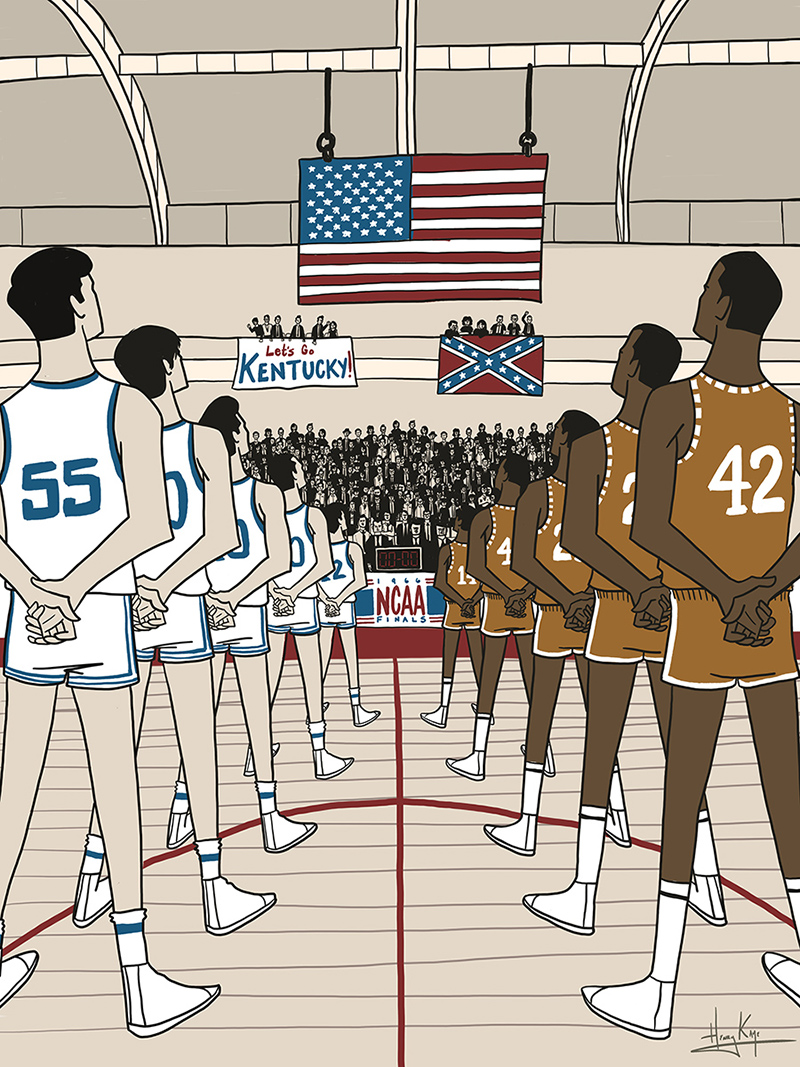 Texas-Western,-NCAA-basketball,-1966-by-Henry-Kaye