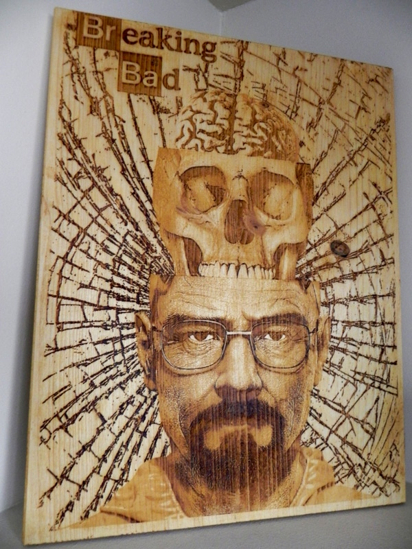 """Breaking Bad"" by Diego Scaglia Rat, laser engraved on pine wood, 11,8"" x 15,7 """