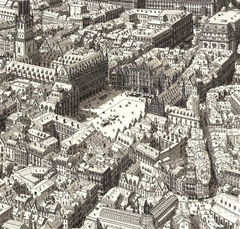 Highly Realistic City Drawings by memory