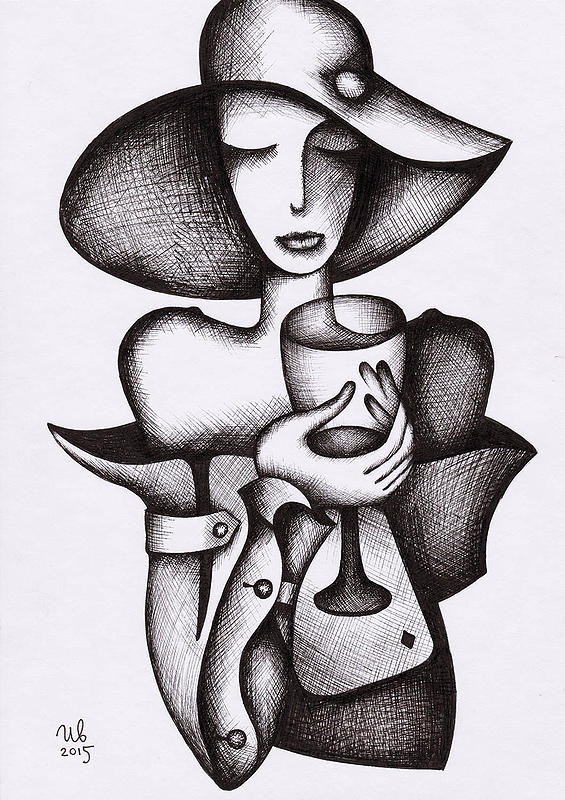 eugene-Ivanov_Ink-drawings-01.00_Woman-with-glass_Lot-2579.00