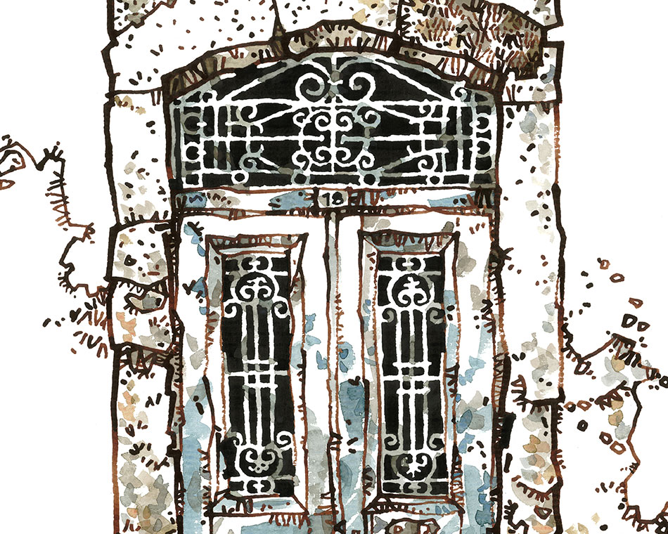 Wonderful Illustrations of hundred-year-old Cretan doors
