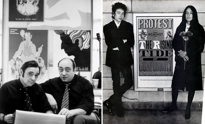 Seymour-Chwast-Milton-Glaser-1968-Bob-Dylan-Joan-Baez-1964