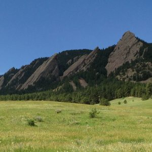 """The view I love so well: The Flatirons from the Chautauqua Meadow, June 25, 2013. Hubley Archives."""
