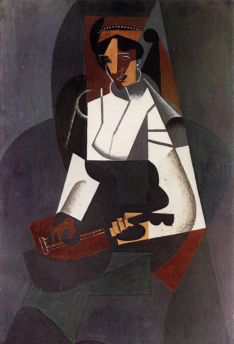 woman-with-a-mandolin-after-corot-1916-oil-on-board